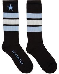 Givenchy - Black And Blue Stripes And Star Logo Socks - Lyst
