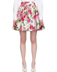 Dolce & Gabbana - Multicolor Floral Pleated Flare Skirt - Lyst