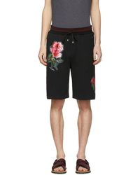 Dolce & Gabbana - Black Floral Applique Shorts - Lyst