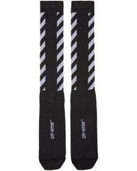 Off-White c/o Virgil Abloh - Black Diagonal Shiny Socks - Lyst