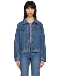 A.P.C. - Indigo Cherry Denim Jacket - Lyst