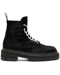Proenza Schouler - Black Pony Lace-up Boots - Lyst