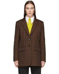 Tibi - Brown Menswear Check Oversized Blazer - Lyst