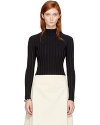 McQ - Black Cropped Lace Rib Turtleneck - Lyst