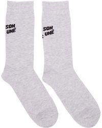 Maison Kitsuné - Grey Logo Socks - Lyst
