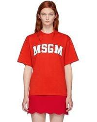MSGM - Red University Logo T-shirt - Lyst