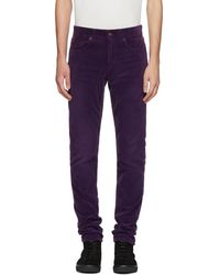 Saint Laurent - Purple Skinny Cord Trousers - Lyst
