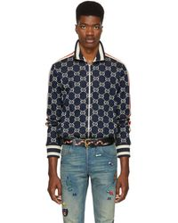 Gucci - Navy And Off-white Gg Track Jacket - Lyst