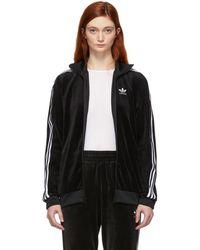adidas Originals - Black Velour Cozy Track Jacket - Lyst