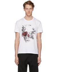 Alexander McQueen - White Gothic Rose Skull T-shirt - Lyst