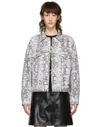 Alexander Wang - Black And White Denim Python Game Jacket - Lyst