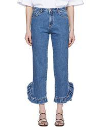 MSGM - Blue Ruffled Jeans - Lyst