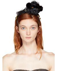Dolce & Gabbana - Black Lace Bear Pom Pom Headband - Lyst