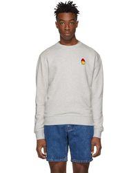 AMI - Grey Smiley Edition Patch Sweatshirt - Lyst