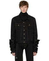 Y. Project - Black Denim Asymmetric Sleeve Jacket - Lyst