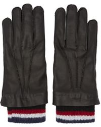 Thom Browne - Black Leather & Cashmere Exposed Seam Gloves - Lyst
