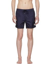 Moncler - Navy Small Logo Swim Shorts - Lyst