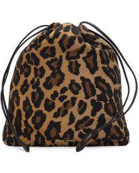 Miu Miu - Leopard Drawstring Pouch - Lyst