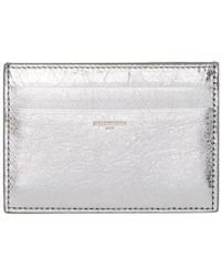 Balenciaga - Silver Metallic Card Holder - Lyst