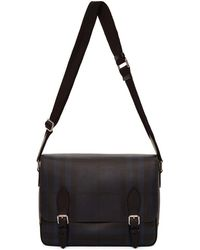 Burberry - Navy And Black London Check Hedley Messenger Bag - Lyst
