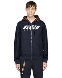 KENZO - Navy Logo Hoodie Jacket - Lyst