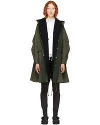 Sacai - Khaki Oxford Coat - Lyst