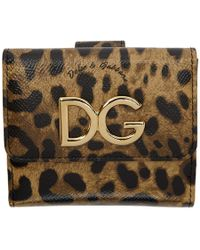 Dolce & Gabbana - Black And Brown Leopard French Wallet - Lyst