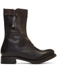 Cherevichkiotvichki - Black Curved Zip Boots - Lyst