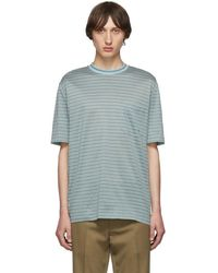 Lanvin - Green Striped Embroidered Logo T-shirt - Lyst