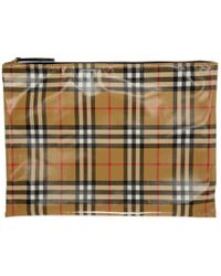 Burberry - Tan Coated Check Pouch - Lyst
