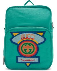 Gucci - Blue Large 80s Logo Backpack - Lyst