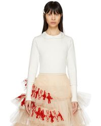 Simone Rocha - Ivory Pearl Collar Crewneck Sweater - Lyst