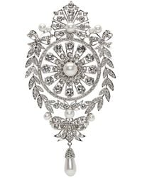 Givenchy - Silver And Pearl Classic Strass Brooch - Lyst
