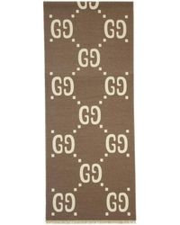 Gucci - Taupe And Off-white Wool GG Scarf - Lyst