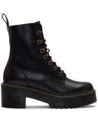 Dr. Martens - Black Heeled Leona Boots - Lyst