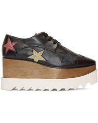 Stella McCartney - Black Glitter Elyse Stars Derbys - Lyst