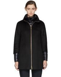Herno - Black Short Cashmere Coat - Lyst