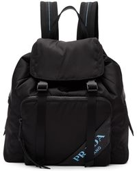 Prada - Black Nylon Logo Backpack - Lyst