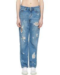 Versus - Blue Distressed Boyfriend Jeans - Lyst