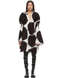 Junya Watanabe - Off-white And Black Oversized Polka Dot Gathered Shirt Dress - Lyst