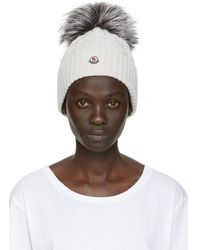 Moncler - Grey Fur Cable Pom Pom Beanie - Lyst
