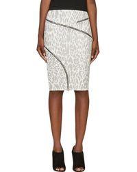 Jay Ahr - White And Black Ziparound Leopard Pencil Skirt - Lyst