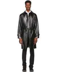 Alexander McQueen - Black Shiny Leather Trench Coat - Lyst