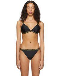 5f473154ca4ba Versace - Black Greek Key Triangle Bikini Top - Lyst