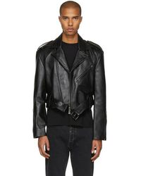 Pyer Moss - Black Oversized Cropped Leather Jacket - Lyst