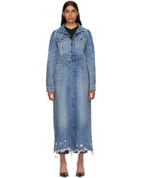 Alexander Wang - Indigo Denim Fitted Trench Coat - Lyst