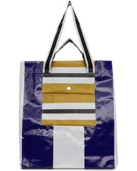 Acne Studios - Blue And White Face Shopper Tote - Lyst