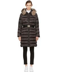 Moncler   Black Down & Fur Tinuviel Coat   Lyst