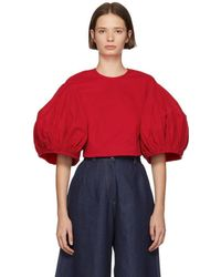 Edit - Red Balloon Sleeve Cropped Blouse - Lyst