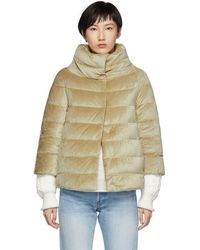 Herno - Gold Down Shimmering Cape Jacket - Lyst